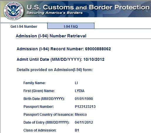 I 94 form green card